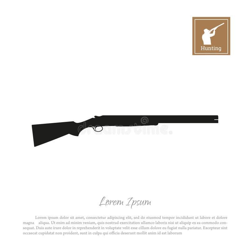 Schwarzes Schattenbild eines Jagdgewehrs auf einem weißen Hintergrund Gewehrikone lizenzfreie abbildung