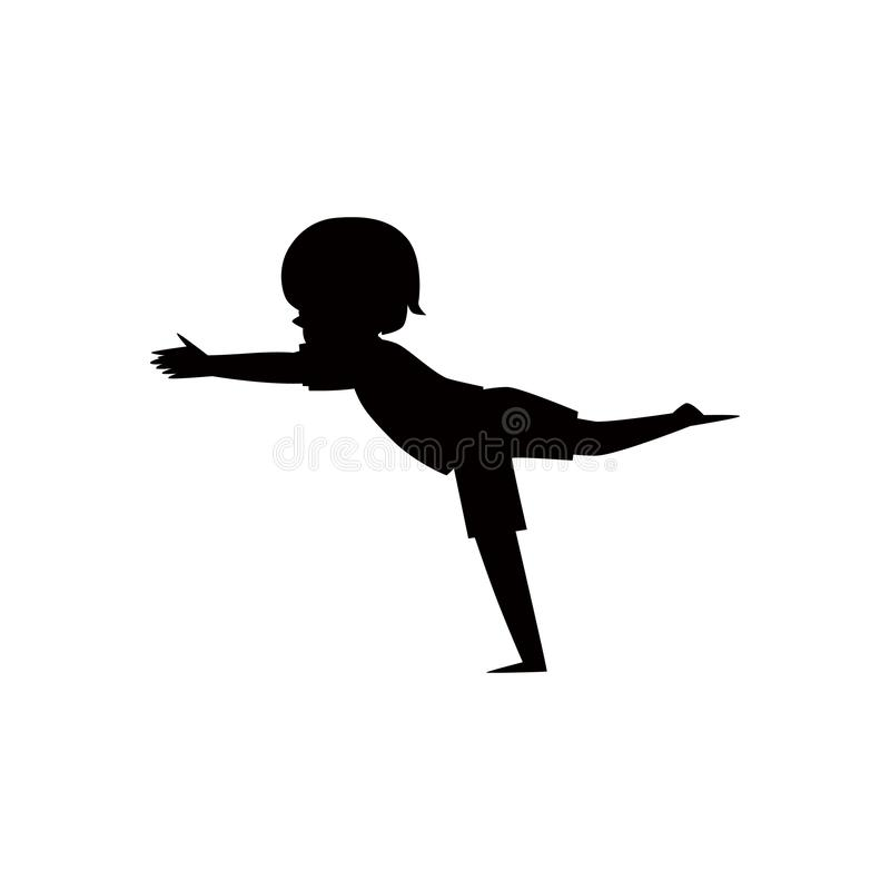 Schwarzes Schattenbild eines Kindes oder des Kindes in der Yogahaltungs-Vektorillustration lokalisierte vektor abbildung