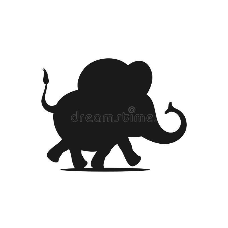 Schwarzes Schattenbild eines laufenden Babyelefanten auf einem weißen Hintergrund lizenzfreie abbildung