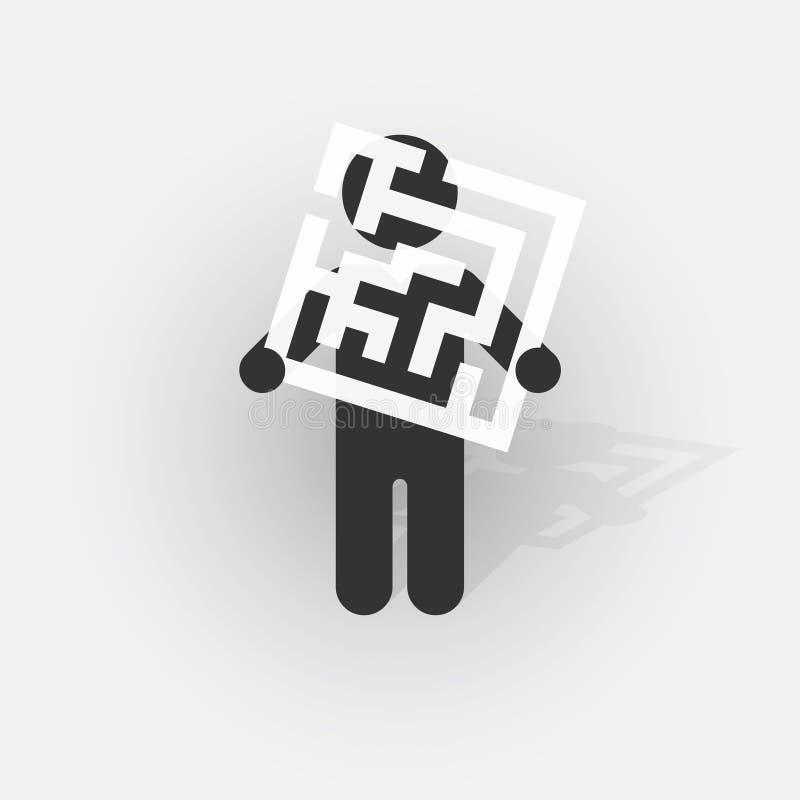 Schwarzes Schattenbild eines Mannes mit einem Zeichen mit einem kleinen Labyrinth stock abbildung