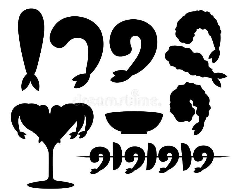 Schwarzes Schattenbild Gebratene Garnele im Teig, kochten und Kebabgarnele So?e f?r Meeresfr?chte Geschmackvolles Restaurantleben vektor abbildung