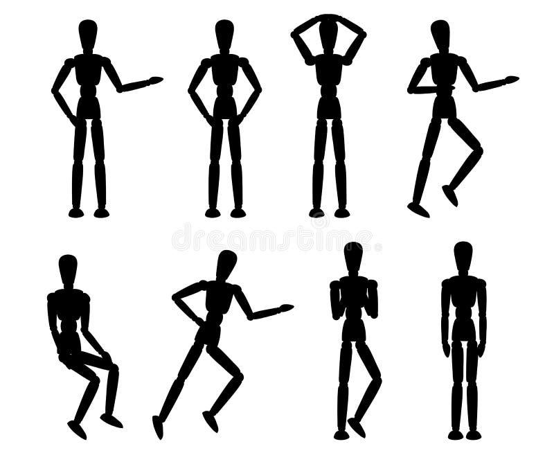 Schwarzes Schattenbild H?lzerne Mannequinsammlung Attrappe mit verschiedenen Haltungen Flache Art der Karikatur Vektorillustratio stock abbildung