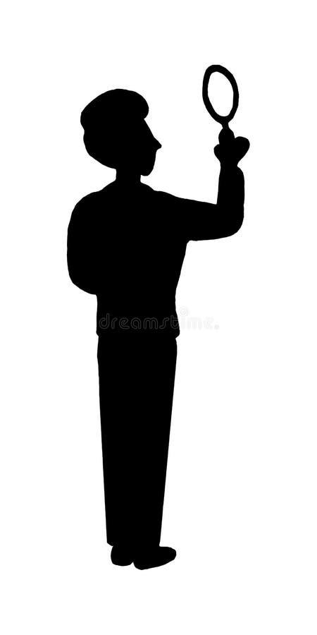 Schwarzes Schattenbild lokalisierter Detektivsuchersucher des jungen Mannes mit Lupe im weißen Hintergrund Seach-Antwort, enträts lizenzfreie abbildung