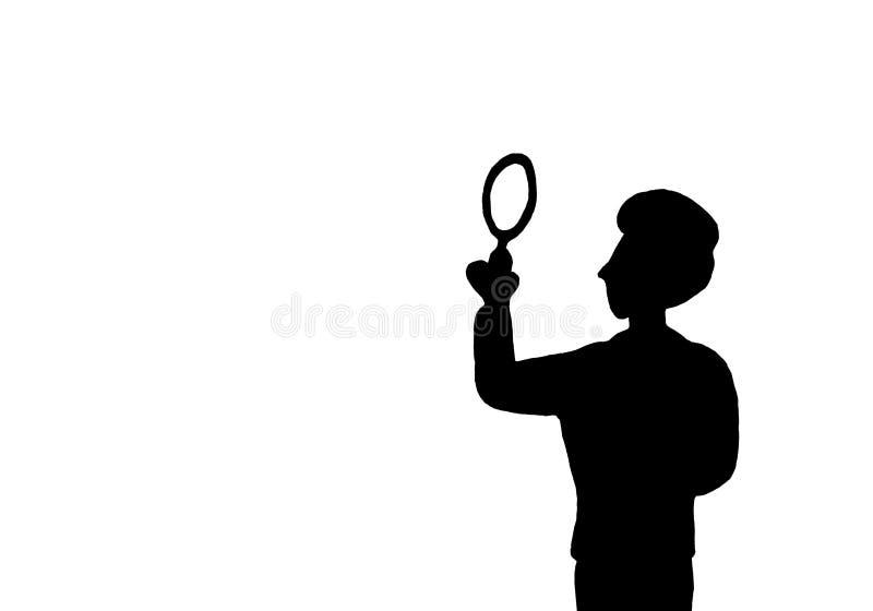Schwarzes Schattenbild lokalisierter junger Geschäftsmann-Detektivsucher mit Lupe im weißen Hintergrund einfarbig Kopieren Sie Pl vektor abbildung