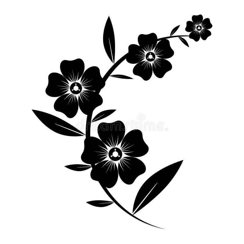 Schwarzes Schattenbild von Blumen stock abbildung