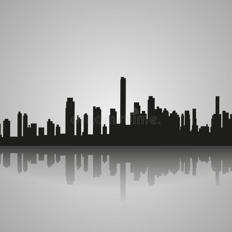 Schwarzes Schattenbild von Miami mit Reflexion Auch im corel abgehobenen Betrag vektor abbildung