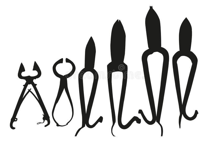 Schwarzes Schattenbild von Werkzeugen stock abbildung