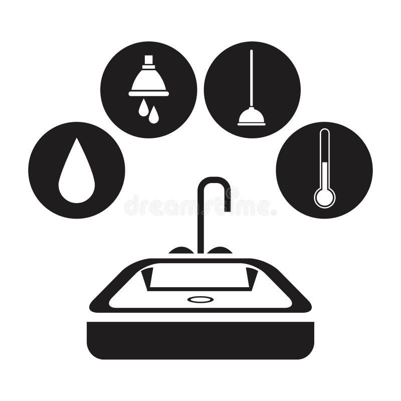 Schwarzes Schattenbildbad mit Kreisrahmenikonen-Klempnerarbeitwerkzeugen lizenzfreie abbildung