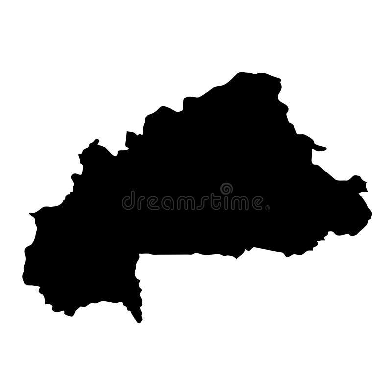 Schwarzes Schattenbildland fasst Karte von Burkina Faso auf weißem Ba ein lizenzfreie abbildung