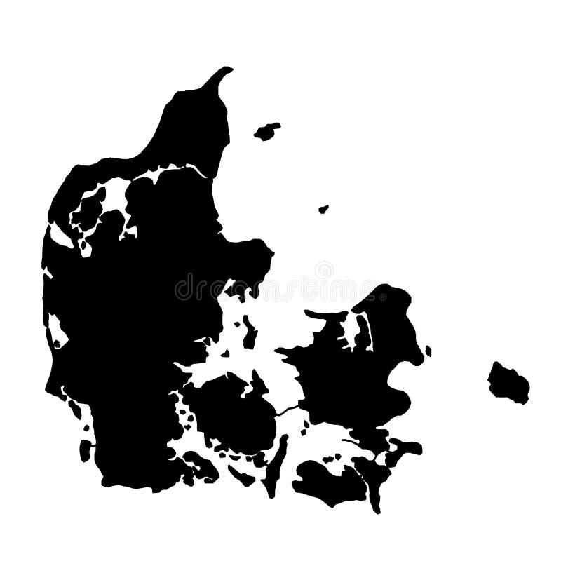 Schwarzes Schattenbildland fasst Karte von Dänemark auf weißem backgro ein stock abbildung