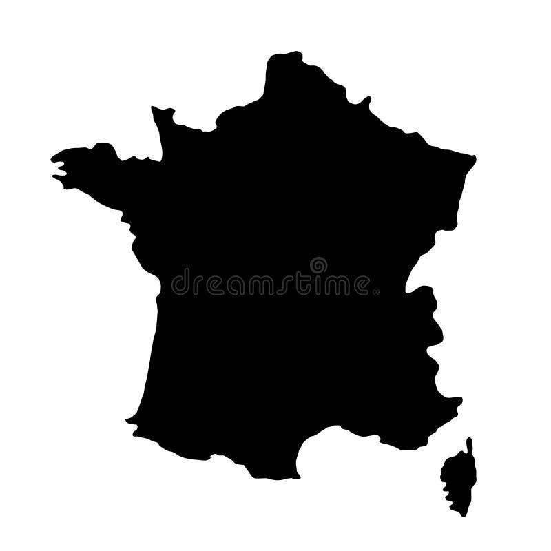 Schwarzes Schattenbildland fasst Karte von Frankreich auf weißem backgrou ein lizenzfreie abbildung