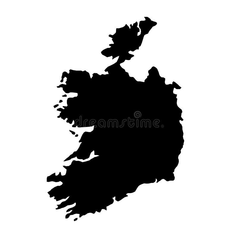 Schwarzes Schattenbildland fasst Karte von Irland auf weißem backgro ein stock abbildung