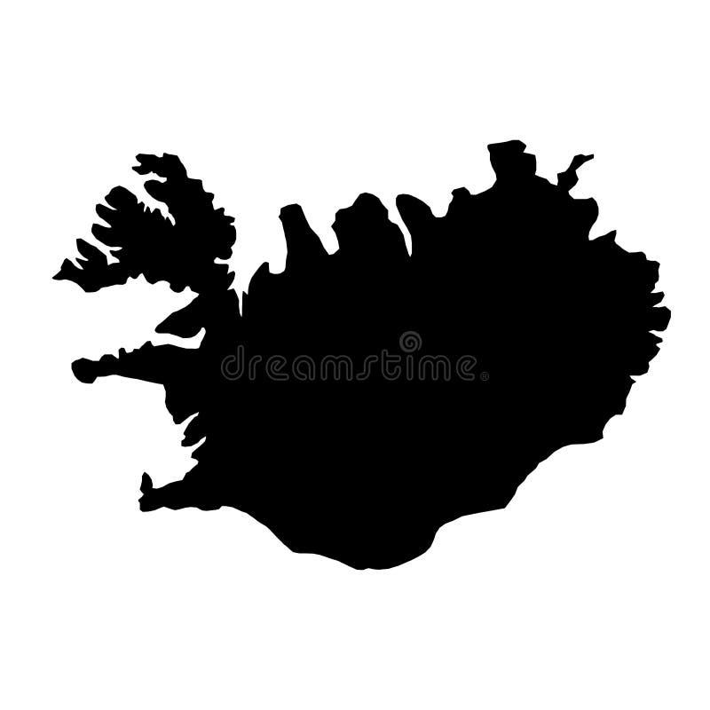 Schwarzes Schattenbildland fasst Karte von Island auf weißem backgro ein lizenzfreie abbildung