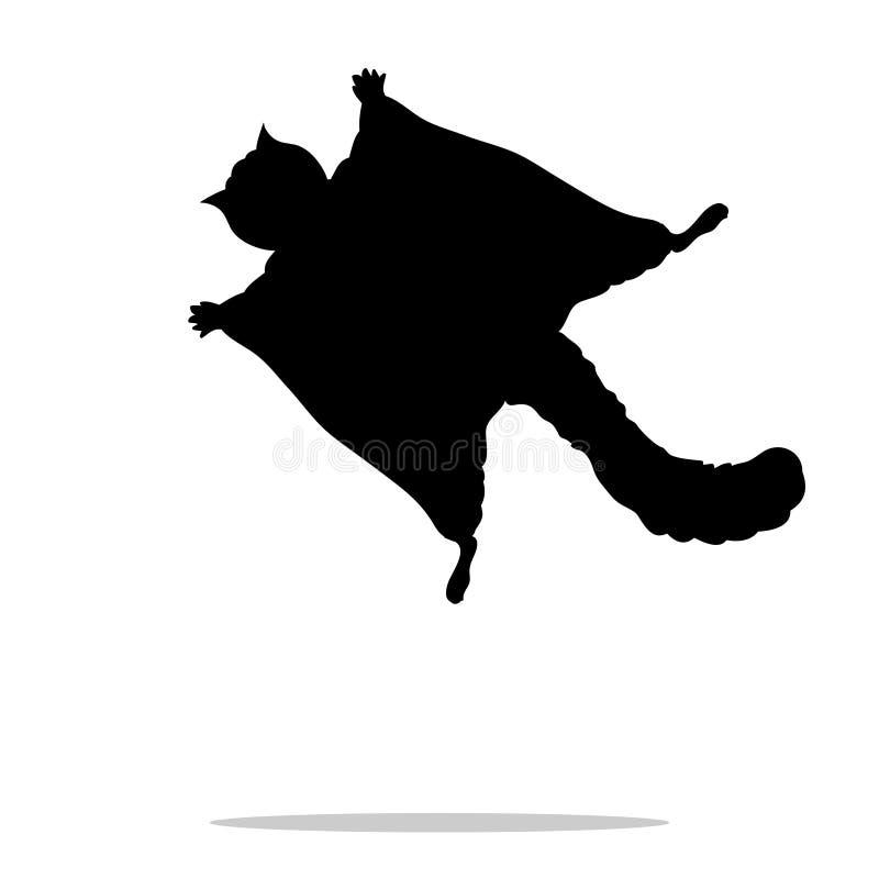 Schwarzes Schattenbildtier des Gleithörnchens stock abbildung