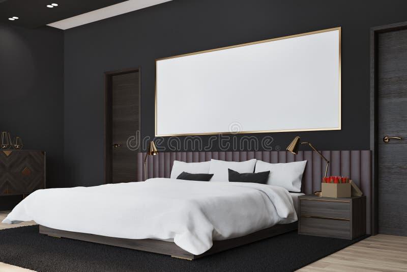 Schwarzes Schlafzimmer Mit Einem Plakat, Seitenansicht Stock ...
