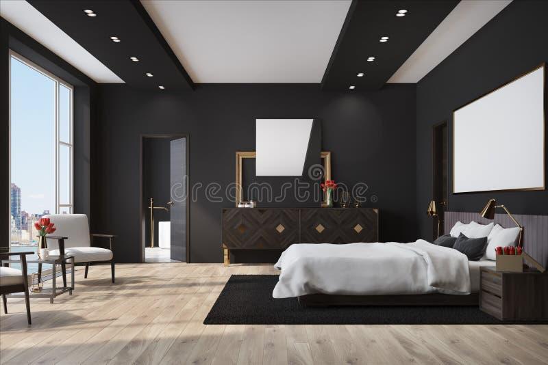 Schwarzes Schlafzimmer Mit Einem Plakat, Wandschrank Stock ...