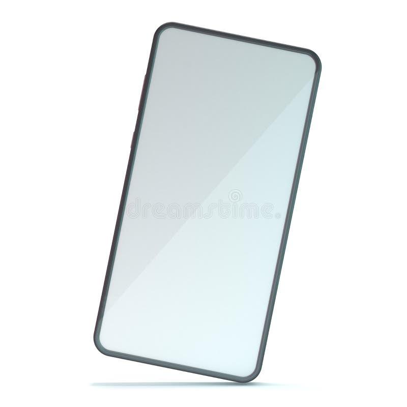 Schwarzes Smartphone-Modell auf weißem Hintergrund 3d lizenzfreie abbildung