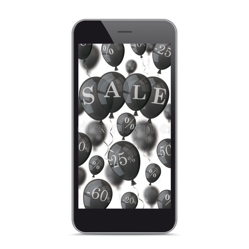 Schwarzes Smartphone-Schwarzes steigt Verkauf im Ballon auf vektor abbildung