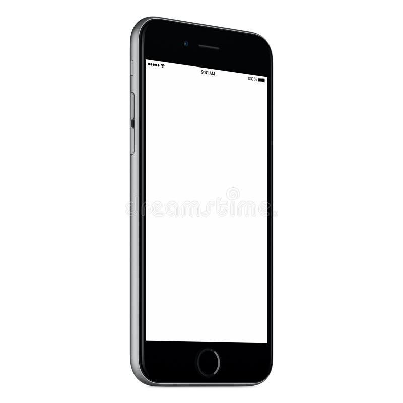 Schwarzes Smartphonespott oben etwas CCW drehte sich mit leerem Bildschirm stock abbildung