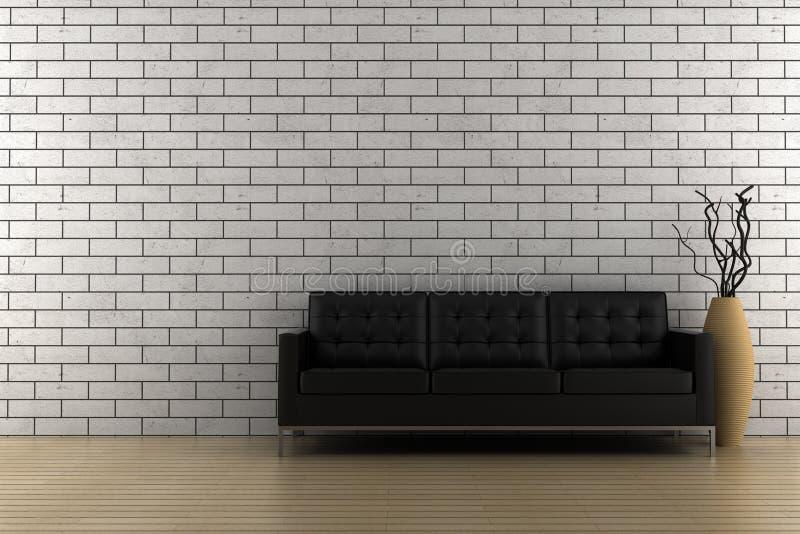 Schwarzes Sofa und Vase mit trockenem Holz vektor abbildung