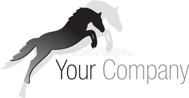 Schwarzes springendes Pferd des Zeichens vektor abbildung