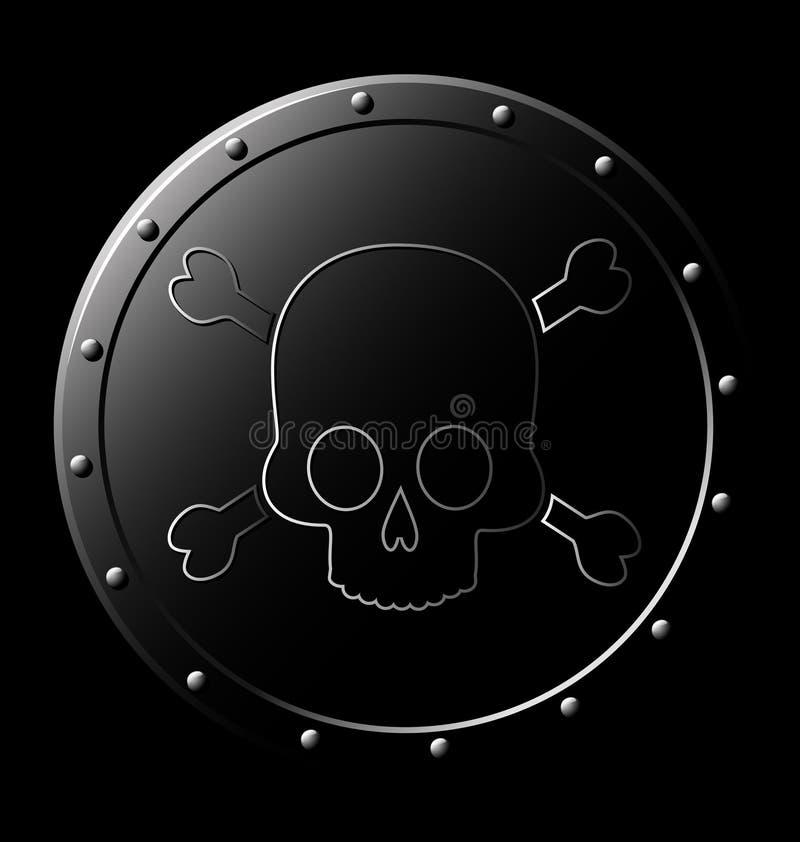 Schwarzes Stahlschild mit dem Schädel - stock abbildung