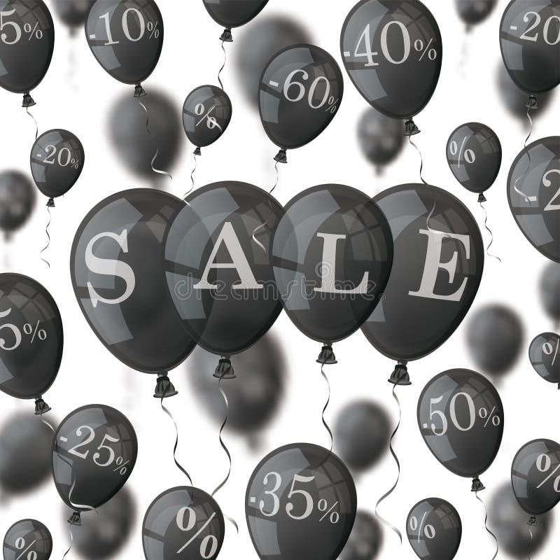 Schwarzes steigt Prozent-Verkaufs-Abdeckung im Ballon auf stock abbildung