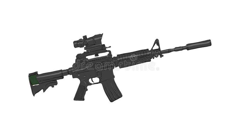Schwarzes Sturmgewehr vektor abbildung