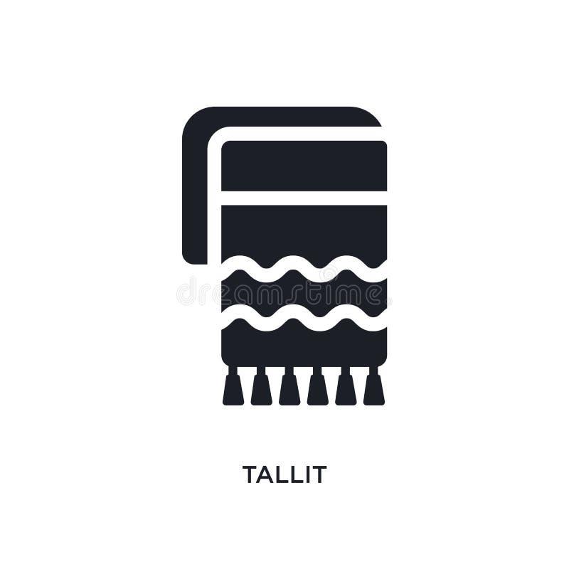 schwarzes tallit lokalisierte Vektorikone einfache Elementillustration von den Religionskonzept-Vektorikonen tallit editable Logo stock abbildung