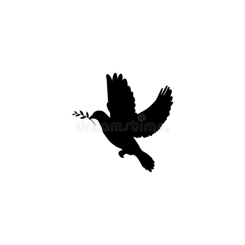 Schwarzes tauchte mit olivgrüner Zweig Ikone, die auf Weiß lokalisiert wurde Friedenssymbol Internationales Friedenstageszeichen vektor abbildung