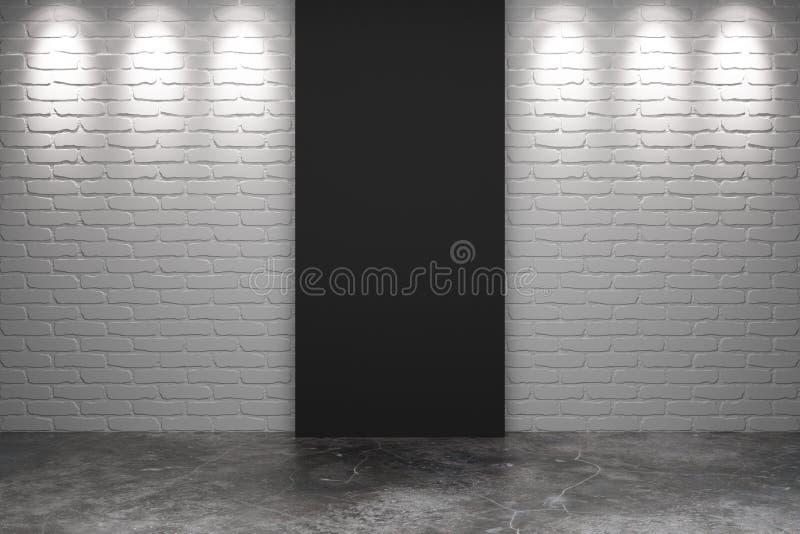 Schwarzes Teil der weißen Backsteinmauer mit konkretem Boden im leeren Raum lizenzfreie abbildung