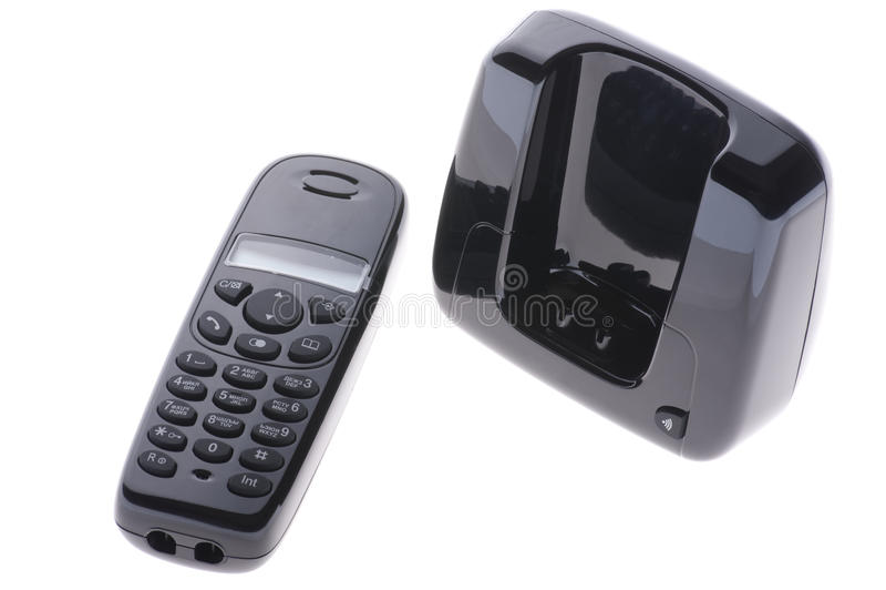Schwarzes Telefon auf Weiß stockbild