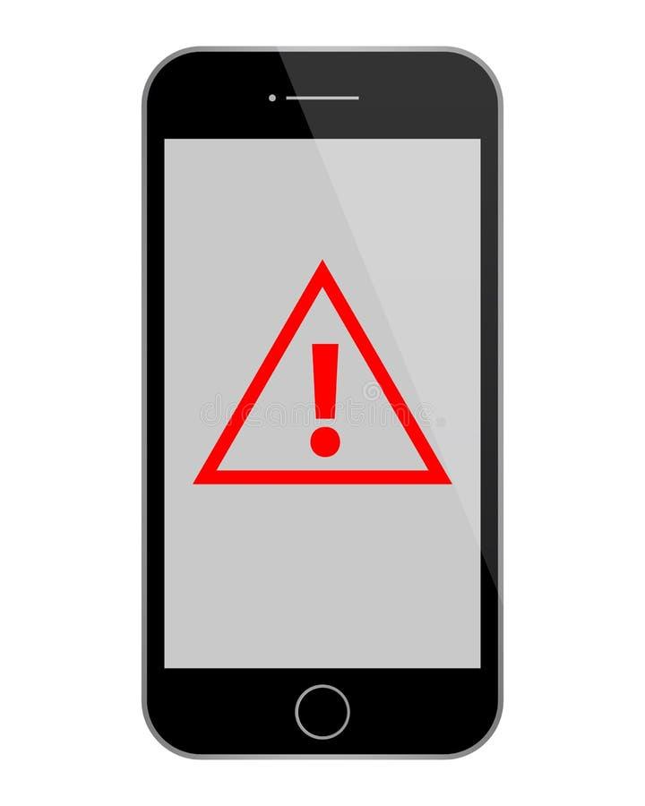 Schwarzes Telefon mit rotem Warnzeichen stockfotografie