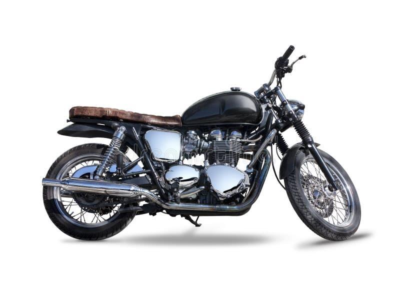 Schwarzes Triumph-Motorrad lokalisiert auf Weiß stockfotografie