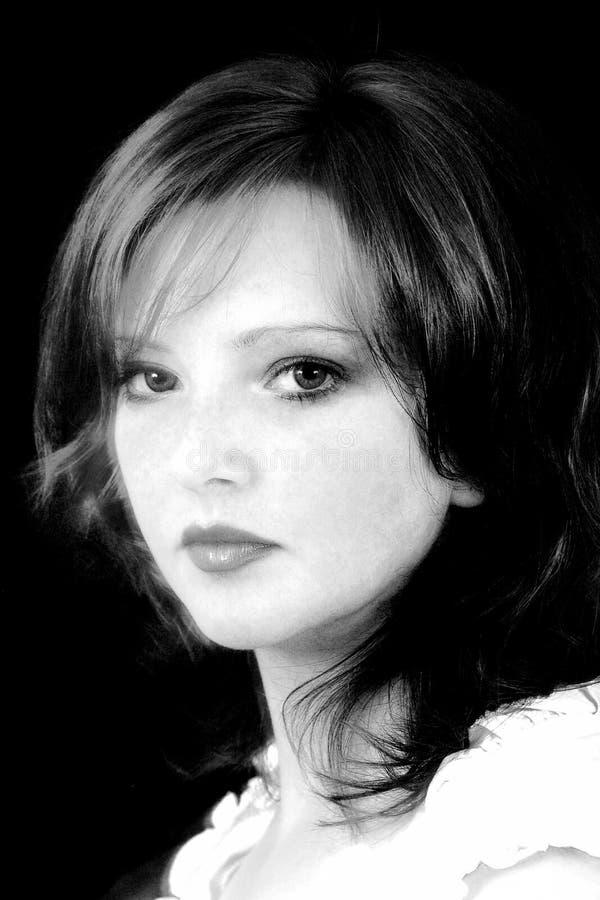 Schwarzes u. weißes Portrait zerstreut stockfotografie