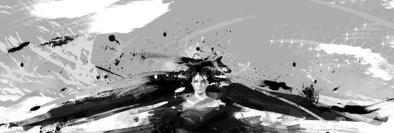 Schwarzes und digitale ausführliche abstrakte Illustration des Whit einer Frau mit schwarzen Flügeln lizenzfreie abbildung