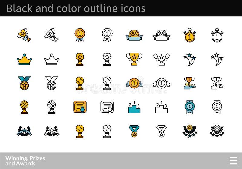 Schwarzes und Farbe umreißen Ikonen, Haarstrichlinie Artdesign lizenzfreie abbildung