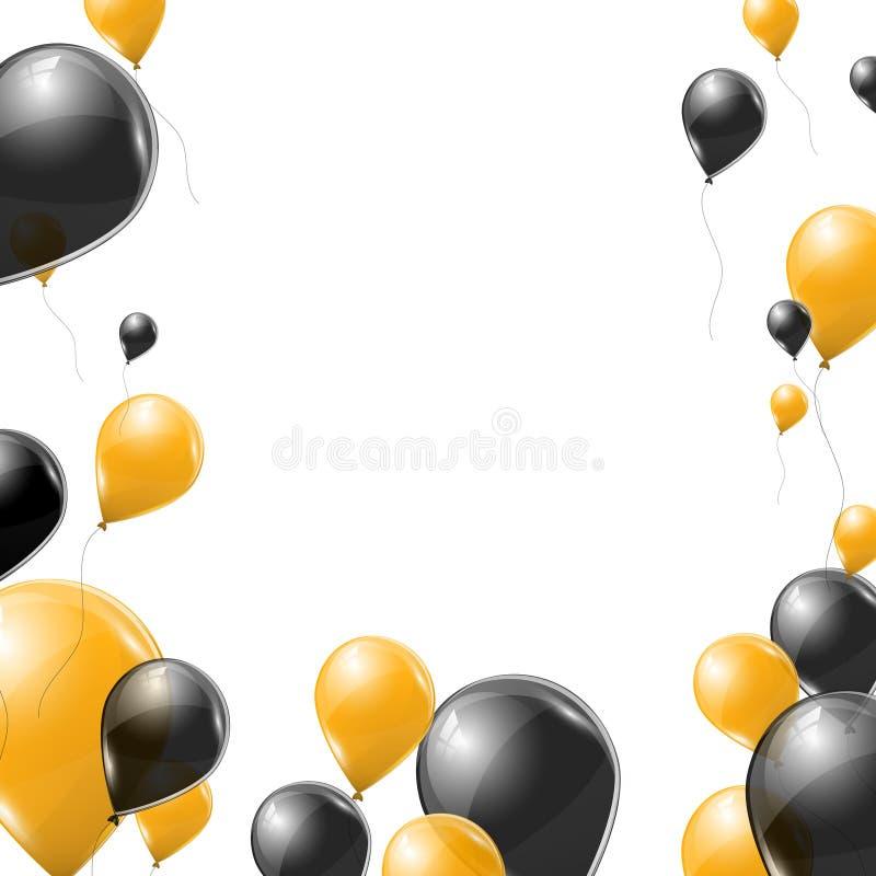 Schwarzes und gelbes transparentes Helium steigt auf weißem Hintergrund im Ballon auf Fliegenlatexballone lizenzfreie abbildung