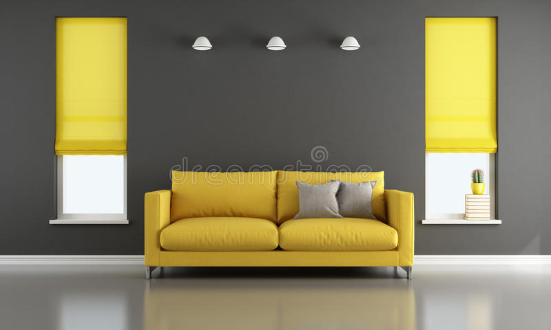 Schwarzes und gelbes Wohnzimmer vektor abbildung