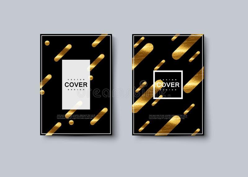 Schwarzes und goldenes Luxusabdeckungsdesign lizenzfreie abbildung