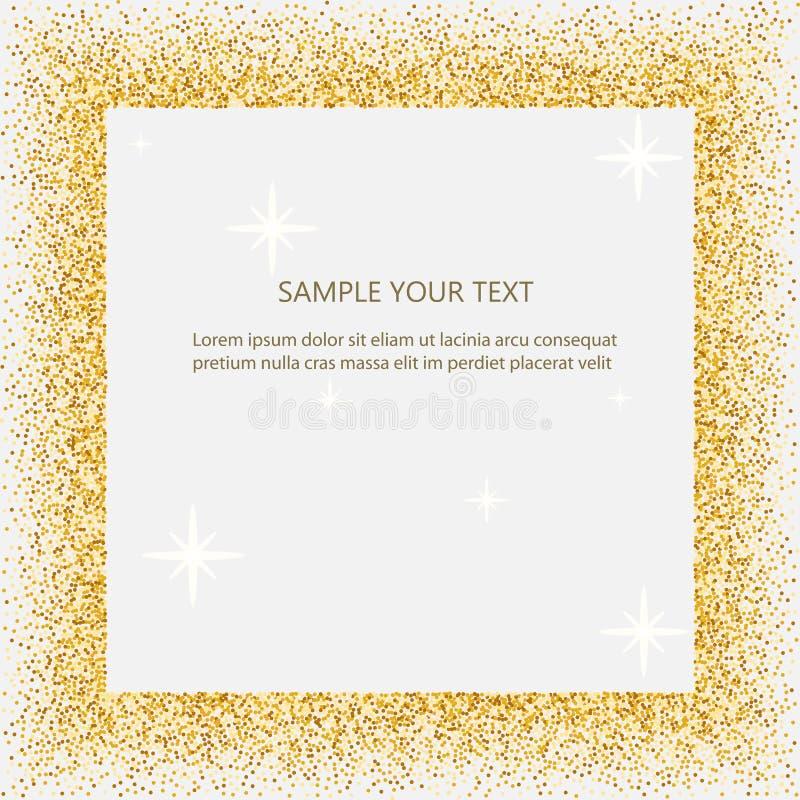 Schwarzes und Goldhintergrund mit Kreisrahmen und Raum für Text goldener Staub groß für Valentinsgruß, Weihnachten und Geburtstag stock abbildung