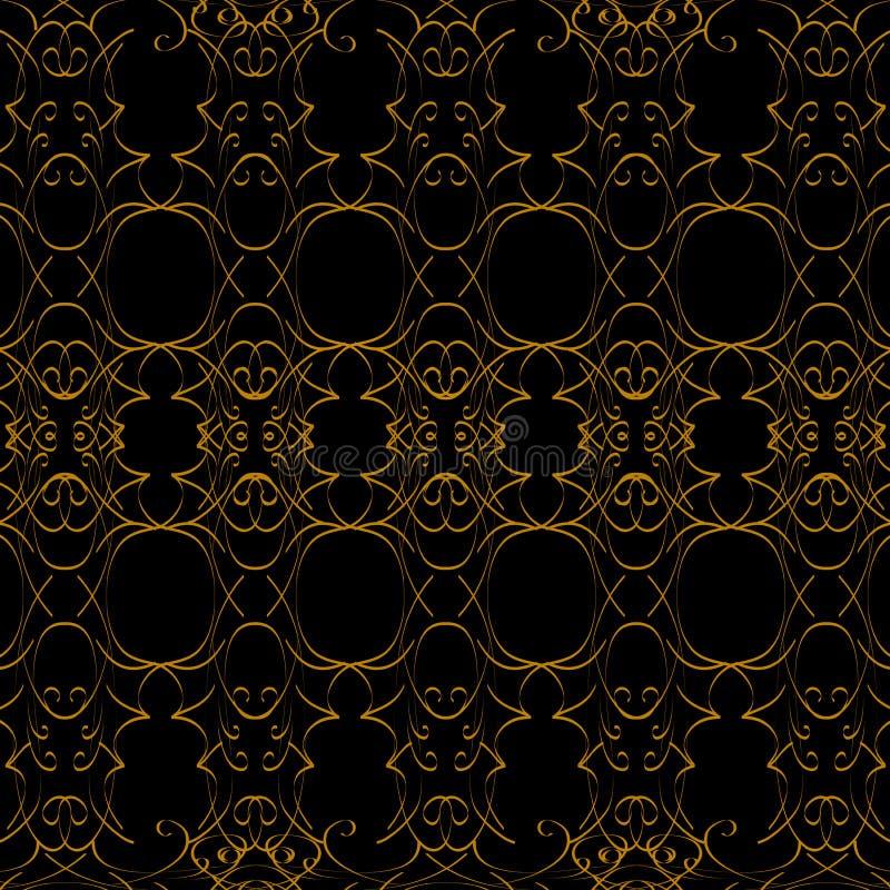 Schwarzes und Goldmuster durch subtile Linien lizenzfreie abbildung