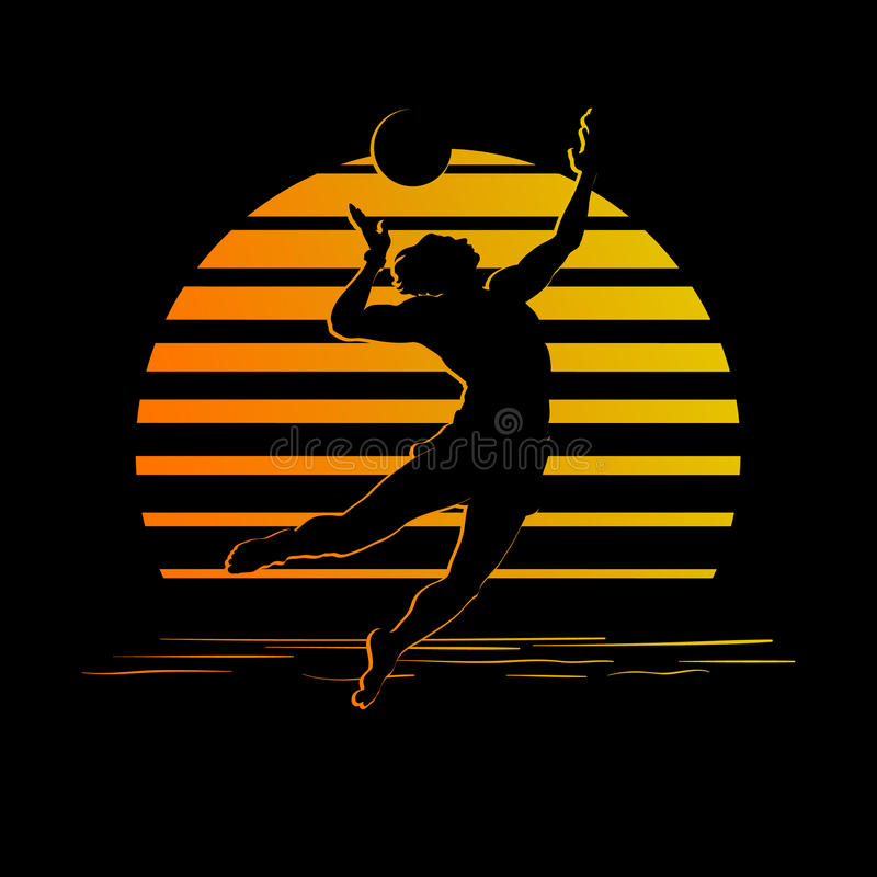 Schwarzes und Goldstreifenlogo mit Volleyballspielerschattenbild stock abbildung