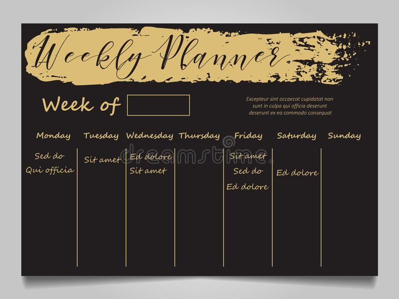 Schwarzes und Goldwöchentliche Planerschablone stock abbildung