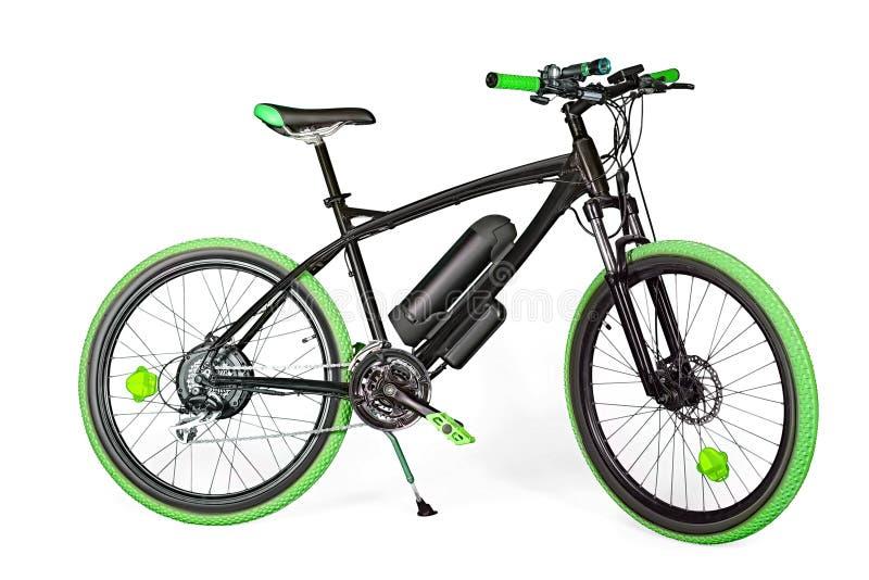 Schwarzes und grünes elektrisches Fahrrad stockbilder