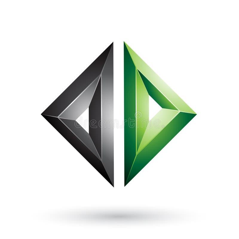 Schwarzes und grünes Feld wie prägeartiger Diamond Shape lokalisiert auf einem weißen Hintergrund lizenzfreie abbildung