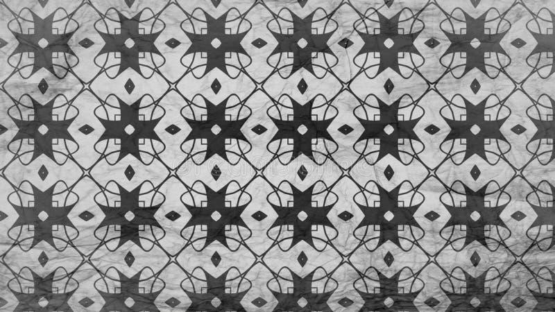 Schwarzes und Gray Floral Geometric Background Pattern stock abbildung