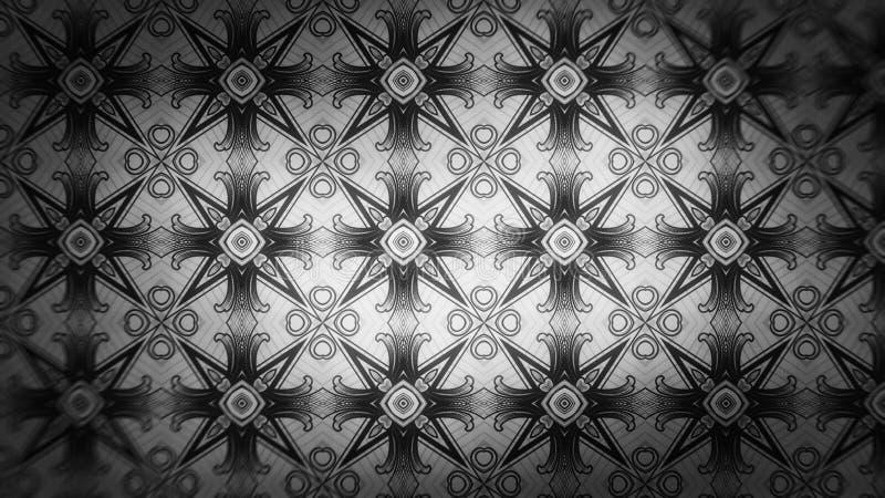 Schwarzes und Gray Geometric Ornament Pattern Background stock abbildung