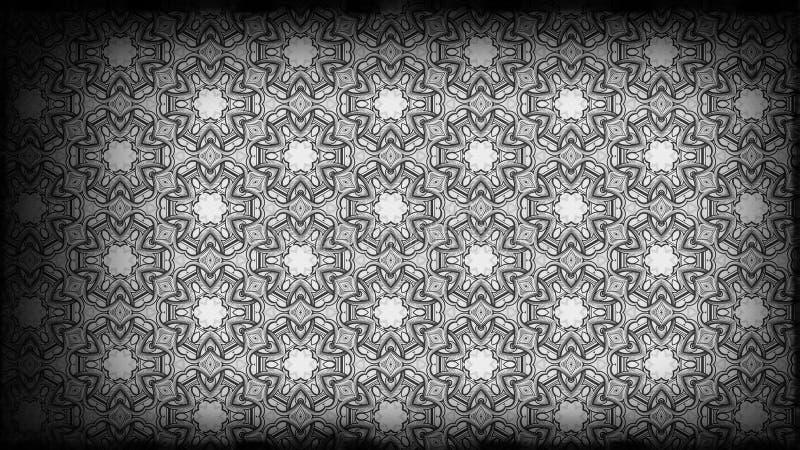Schwarzes und Gray Vintage Decorative Floral Ornament-Hintergrund-Muster-Entwurfs-Schablonen-schöne elegante Illustration stock abbildung