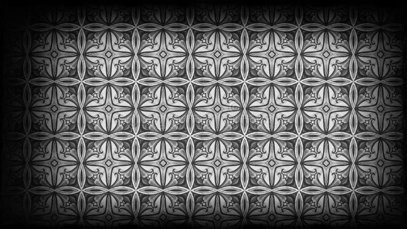 Schwarzes und Gray Vintage Decorative Floral Ornament-Hintergrund-Muster-Entwurfs-Schablonen-schöne elegante Illustration vektor abbildung